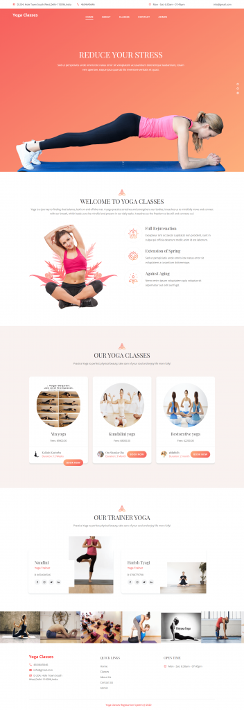 Yoga_Classes_Registration_System_Home_Page